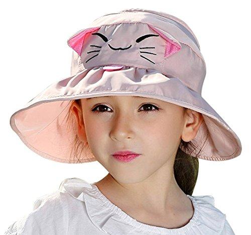 Girls Kids Wide Brim Visor Sun Hat - UV Protection Foldable Beach Cap,Pink]()