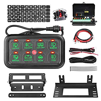 Image of Multifunction 8 Gang Switch Panel, AKD Part Circuit Control Box Universal Jeep Switch Box Wiring Harness Touch Panel On Off Button for Pickup ATV UTV Truck Marine