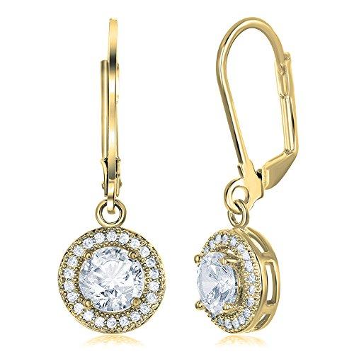 Cate & Chloe Juliana 18k Gold Round Cut CZ Halo Drop Earrings, Dangling Crystal Round Cut Earring Set for Women, Cubic ZIrconia Halo Earrings, Wedding Anniversary Jewelry (Yellow Gold) Cut Dangle Yellow Gold Earrings
