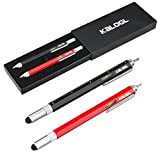 Multitool Pen [2 Pack] Stylus Pen 9-in-1 Combo Pen [Functions as Touchscreen Stylus, Ballpoint Pen, 4″ Ruler, Level, Phillips Screwdriver, and Flathead] Gift (Black+Red)