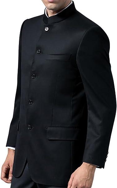 INMONARCH Chaqueta Nehru Mao para Hombre con Cuello Mao Negro ...