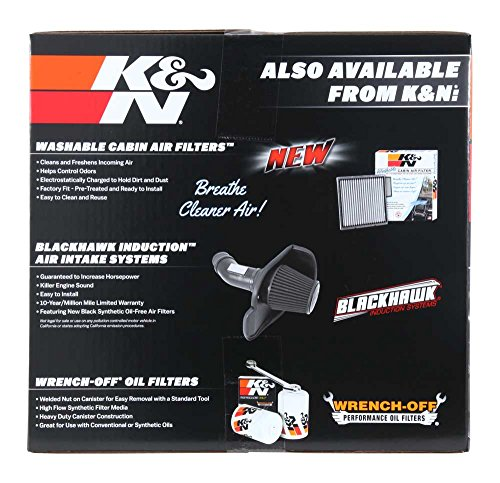 K&N Performance Air Intake Kit 63-3082 with Black HDPE Tube and Lifetime Red Oiled Filter for Escalade, Silverado 1500, Suburban, Tahoe, Sierra, Yukon, Denali, XL