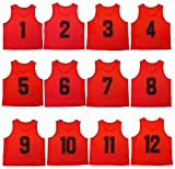Oso Athletics Set of 12 Premium Mesh Numbered Scrimmage Vest Pinnies Team Practice Jerseys for Children, Youth, and Adult Sports Basketball, Soccer, Football, Volleyball, Lacrosse (Red, Adult)