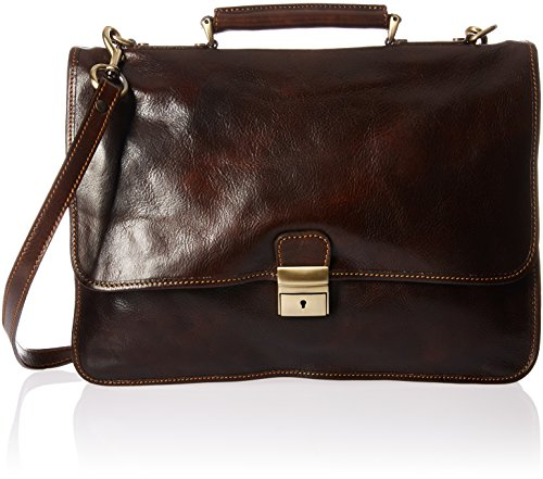 Luggage Depot USA, LLC Men's Alberto Bellucci Italian Leather Double Gusset D. Brn Laptop Messenger Bag, Dark Brown, One Size by Luggage Depot USA, LLC (Image #5)