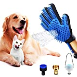 Stoon Pet Shower Kit, 3 in 1 Dog Shower Sprayer: Clean, Deshedding & Massage Glove, Pet Bathing Attachment for Bathtub/Outdoor, Grooming Glove for Dogs & Cats with Long & Short Fur (Blue)