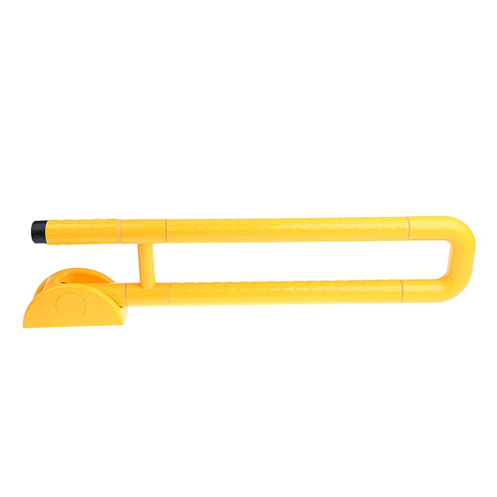 D DOLITY Handicap Toilet Rails Foldable Bathroom Hand Grips Safety Grab Bar for Disability Aid Elderly Assistance - White/Yellow - Yellow