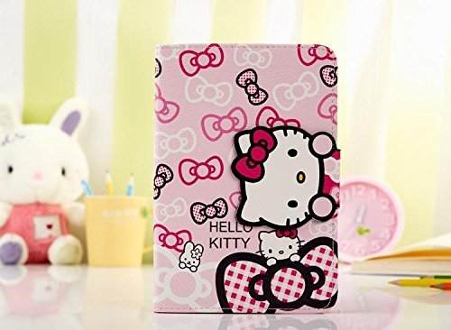 Hello Kitty Themed Flip Stand Leather Comprehensive Protection Cover Case for Apple iPad mini 1/2/3(Wallet Style Design With Card Slots) (Ipad Hello Kitty Cover compare prices)