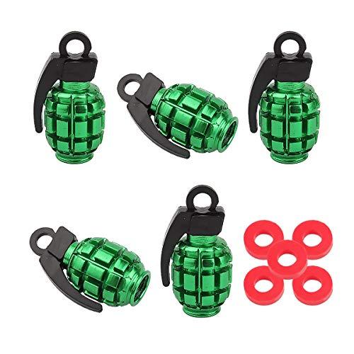 Winka 5pcs Grenade Style Green Aluminum Tire Wheel Valve Stem Caps for Car Truck Motorcycle Bike