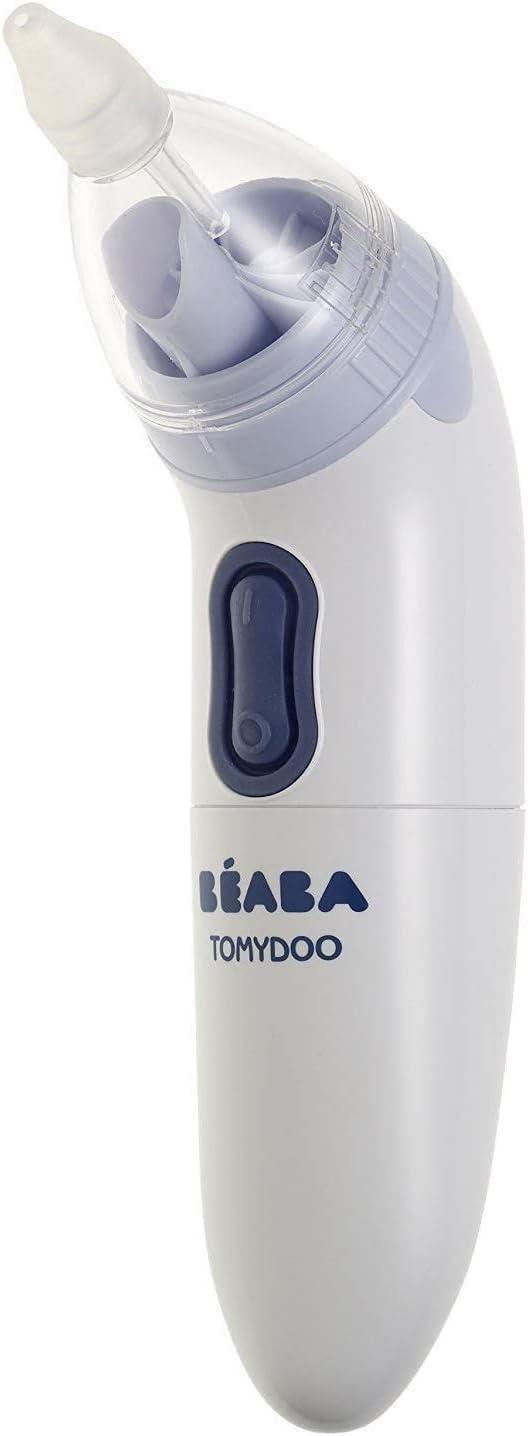 BÉABA Tomydoo - Aspirador Nasal de Bebé Portátil, Eléctrico para Bebé, Ultrarrápido, Fácil de Usar y Evolutivo Gracias a sus 3 Cánulas, Esterilizable