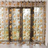 Weiliru Window Treatment Panels Light Flower Pattern Embroidered Sheer Curtains Home Decor Sheer/Tulle/Voile/Gauze/Draperies and Curtains for Bedroom Window(Coffee and Grey)