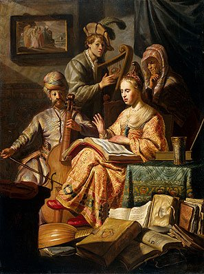 Rembrandt (Musical Allegory, 1626) Canvas Art Print Reproduction (25x18.7 in) (64x48 cm)