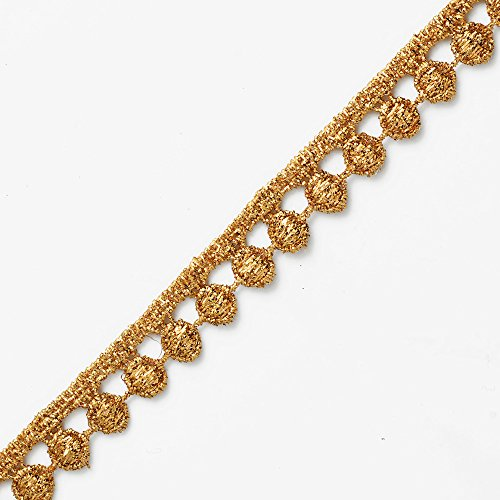 4-Yards 1/2 Inch Metallic Lace Trim for Bridal, Costume or Jewelry, Crafts and Sewing, LP-MX-1696 (Gold)