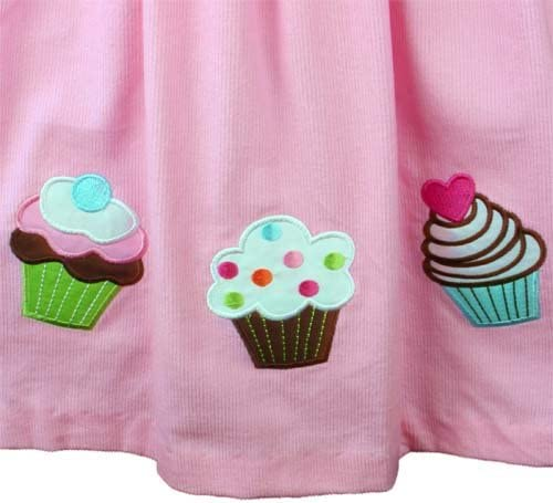 Rare Editions Pink Corduroy Cupcake Birthday Dress 2 Pc.