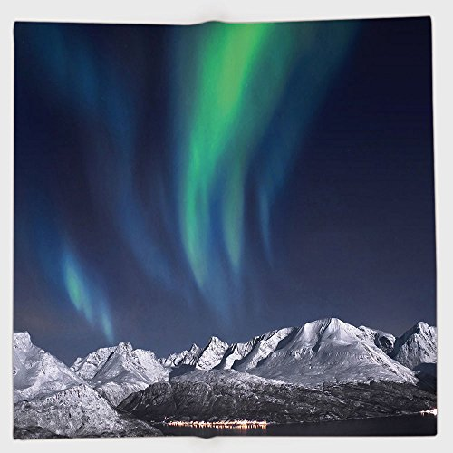 Cotton Microfiber Hand Towel,Sky Decor,Northern Lights Aurora over Fjords Mountain at Night Norway Solar Image Art,Green Dark Blue,for Kids, Teens, and Adults,One Side Printing by iPrint