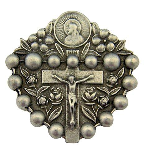 Pewter the Sacred Heart of Jesus Rosary Visor Clip, 1 3/4 Inch