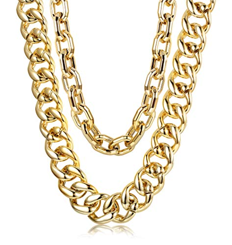 Hanpabum 2 PCS Men Gold Plated Big Chunky Necklace Hip Hop Jewelry 80s 90s Personalized Punk Style Chain Necklace Costume Jewelry -