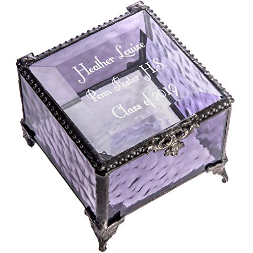 Personalized Graduation Gift for Her Purple Glass Jewelry Box Engraved Keepsake for High School Graduate Or College Grad Class of 2019 Daughter, Granddaughter, Girl, Friend J Devlin Box 836 EB217-3 (Keepsake Graduation Gifts)
