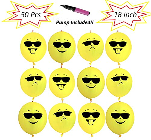 Dove 50 Mega Pack 'COOL CORY' Premium Quality 18 inch Large Punch Balloons With Pump Included For Easy Inflation (18 Inch, 50 Pcs)