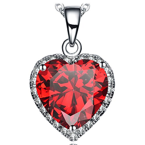 Glass Red Heart Necklace ( NEEMODA Womens White Gold Plated Heart Pendant Necklace with Red AAA Cubic Zirconia Fashion Jewelry)