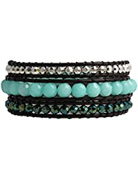 Faceted Green Bohemian Beaded 3 Wrap Genuine Leather Bracelet with Polished Silver Beads Men Women Unisex by Balla