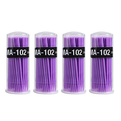 Shintop 400pcs Disposable Micro Applicator Brushes Great for Dental/Oral/Makeup (Purple, 1.5mm)