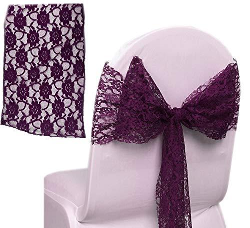 MDS 10個パックレース弓レース椅子サッシ/ bowsサッシの結婚やイベント行事に飾りパーティー用品レース椅子サッシ 100 パープル 100_lace sash bow_ eggplant 100 エッグプラント B078YSSB4N