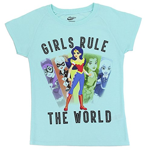DC SuperHero Girls' Wonder Woman and Friends Tee (14/16), Light Aqua