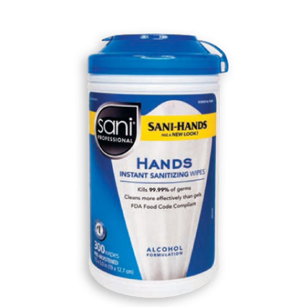 Sani Professional P92084 Sani-Hands 300 Ct. Hand Wipes - 6 / CS