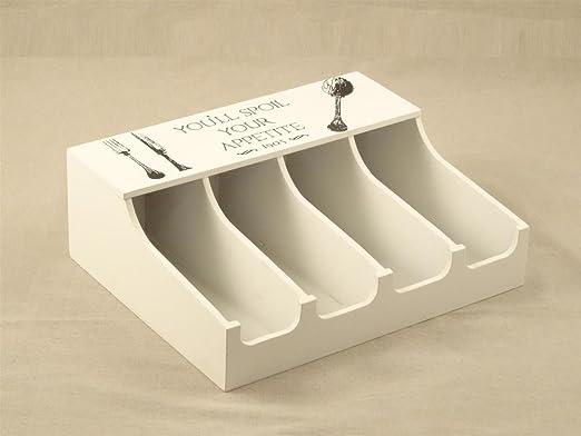 Caja cubiertos de madera blanco con dibujo cubiertos, 4 compartimentos, 30 x 24 x 10 cm: Amazon.es: Bricolaje y herramientas
