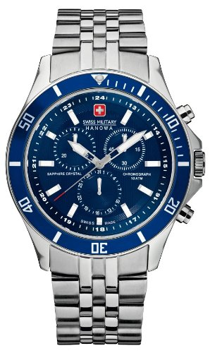Swiss Military Flagship Chrono Men s Quartz Watch with Blue Dial Chronograph  Display and Silver Stainless Steel Bracelet 6-5183.04.003  Swiss Military  ... 83fa04c13d