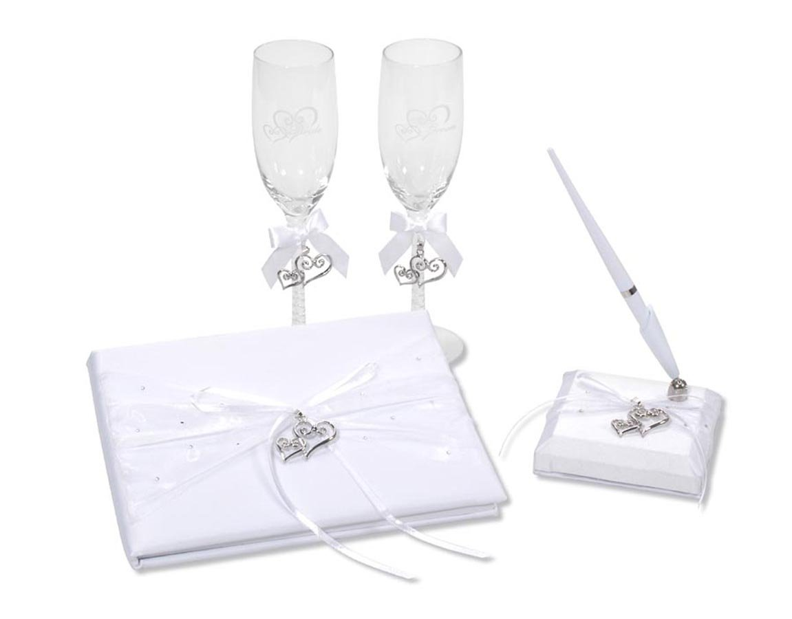 Darice VL0026, Heart Charm Rhinestone Guest Book Pen Glass Set