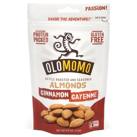 OLOMOMO Cinnamon Cayenne Kettle-roasted Almonds: Protein-packed, Gluten Free, Organic Ingredients, Non-GMO, Healthy Snack packs