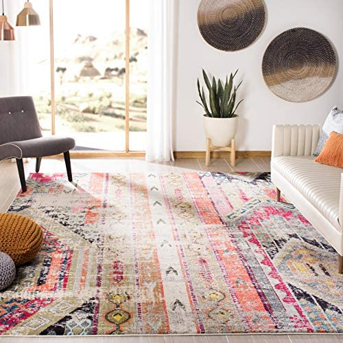 Safavieh Monaco Collection MNC222G Modern Bohemian Distressed Area Rug