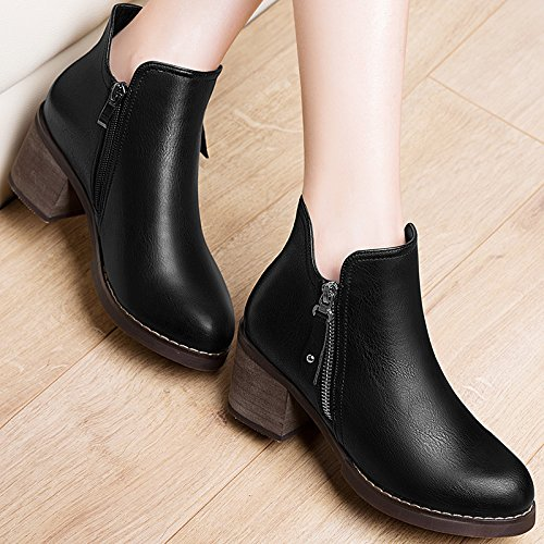 Round Heel Casual Thirty nine Shoes British Short Casual Head Fashion Winter Women'S And Rough Boots Shoes Autumn Wind KHSKX ZYRnAC