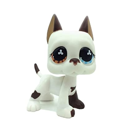 Amazoncom Zad Littlest Pet Shop White Brown Dane Dog Puppy Blue