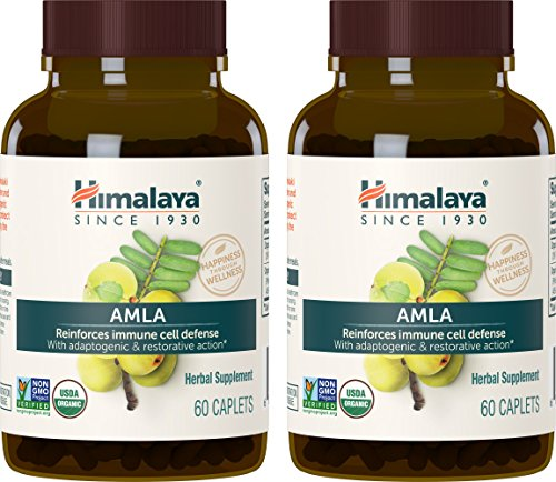 Amla Berry - Himalaya Organic Amla, Natural Antioxidant for Immune Support, 60 Caplets, 600 mg ,2 Month Supply (2 PACK)