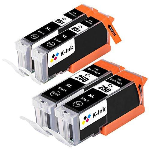 K-Ink Compatible Black Ink Cartridges for PGI-250 CLI-251 (2 Big Black, 2 Small Black)
