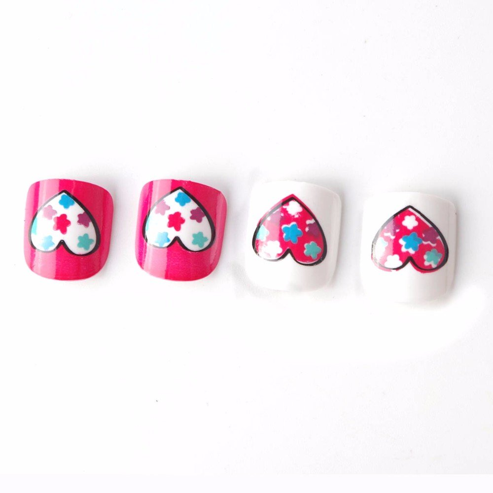 Amazon.com : Cute Animals Children Fake Nails 24 Pcs Cat Pig Spot ...