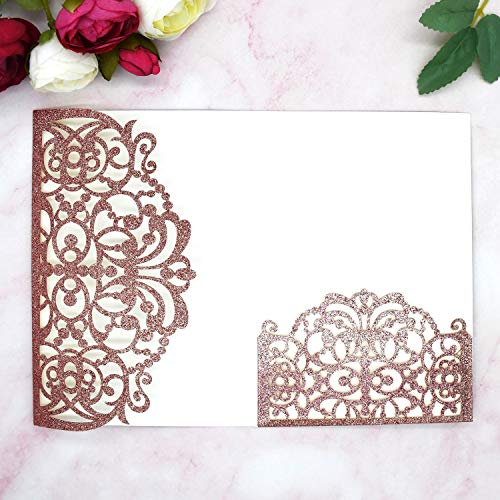 YHOTA 20 pcs Laser Cut Wedding Invitations Cards Pockets Floral Design for Wedding Party Bridal Shower Birthday Quinceañera Invite 5.12 by 7.24 inches (Rose Gold Glitter)