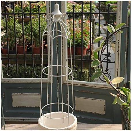 オベリスクヨーロッパスタイルのレトロな錬鉄のバルコニーガーデンコートヤードフラワースタンド 新型 (Color : One white)