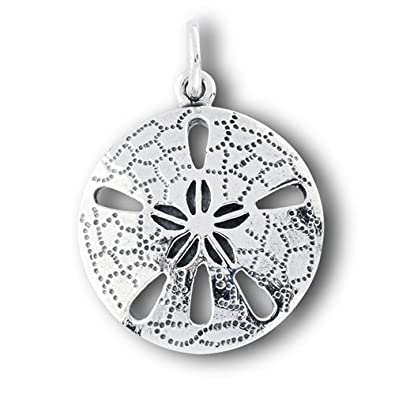 Amazon new sterling silver beach sand dollar pendant or charm new sterling silver beach sand dollar pendant or charm aloadofball Images