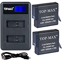 TOP-MAX 2 Pack Replacement Battery and 2 Battery Channel Travel USB Charger for GoPro Hero 5,HERO5 Black and GoPro AHDBT-501,HERO6 Black,AABAT-001 Battery (Fully compatible with original camer