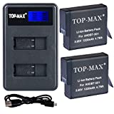 TOP-MAX 2 Pack Replacement Battery and 2 Battery Channel Travel USB Charger for GoPro Hero 5 - HERO5 Black and GoPro AHDBT-501,HERO6 Black,AABAT-001 Battery (Fully compatible with original camer