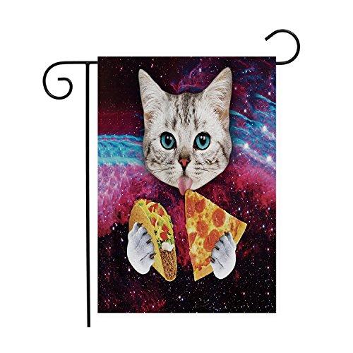 Space Nebula Universe Cat Eat Pizza Garden Flags