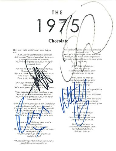 THE 1975 Signed Autographed Chocolate Song Lyric Sheet Matty Healy +3 COA ()