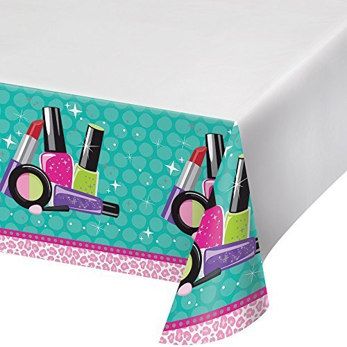 Creative Converting Sparkle Spa Party Plastic Table Cover with Border Print, 54 x 102'', Blue/Pink by Creative Converting