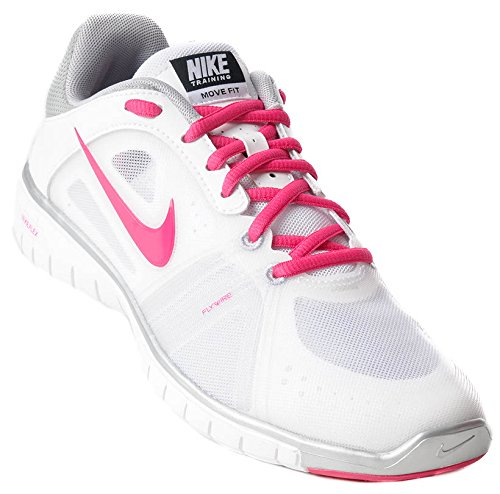 Nike nike move fit, Sneaker donna white/fireberry-metallic silver