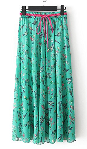 Azue Women's Light Silky Pleated Country Leisure Floral Chiffon Casual Maxi Skirts Green Bird L (US Size : 4-18) Petit Am I Christmas