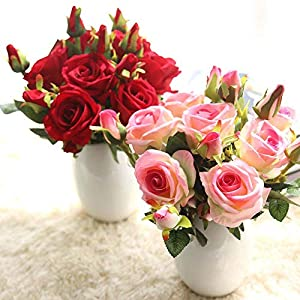 Naiflowers Artificial Flower,1PC Artificial Fake Rose Floral DIY Bridal Bouquets Real Looking Silk Flower with Plastic Stem for Home Wedding Party Decoration (B) 4