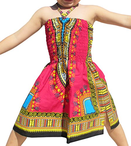 Raan Pah Muang Brand Dress Halter Dashiki Colors African Child Smock Chest Strap, 3-6 Years, Pink